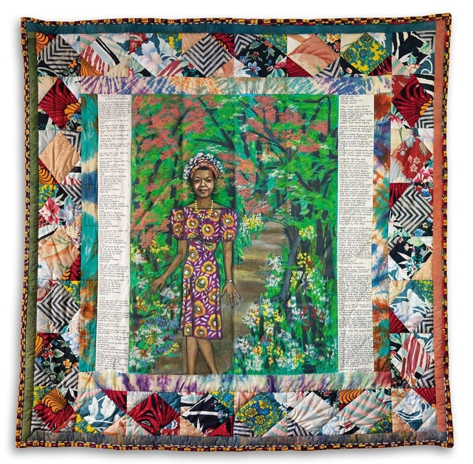 Faith Ringgold's MAYA'S QUILT OF LIFE, which Oprah Winfrey commissioned for Dr. Angelou's 61st birthday. We will be making this a limited edition print for this campaign.