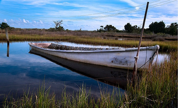 In days gone by, a fisherman could support a large familiy with an iconic Core Sound skiff like this one  of past glory.  Small fishermen, like small farmers, stuggle to earn a living in ways passed down to them through the ages.