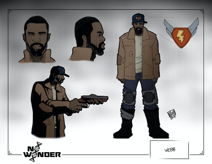 Early concept art for one of our main characters, Webb.