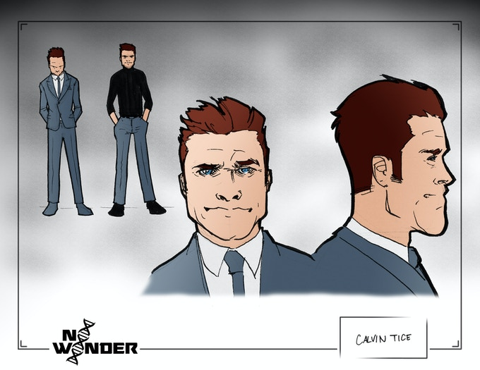 Early concept art for Calvin Tice, the inventor of A.T.O.M.