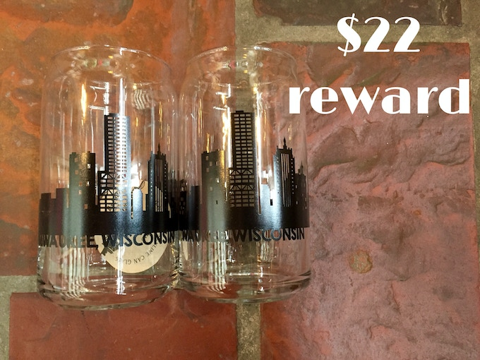 Pair of Milwaukee skyline pint glasses from Waxwing shop artist Paper Pleasers, $22 rewar