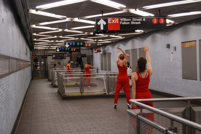 Dancers appeared out of nowhere in the subway for Rick Moody's performance in 2013; Photo: Elizabeth Eisenstein