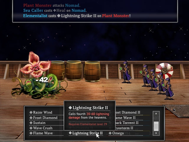 Battle UI with mouse hover