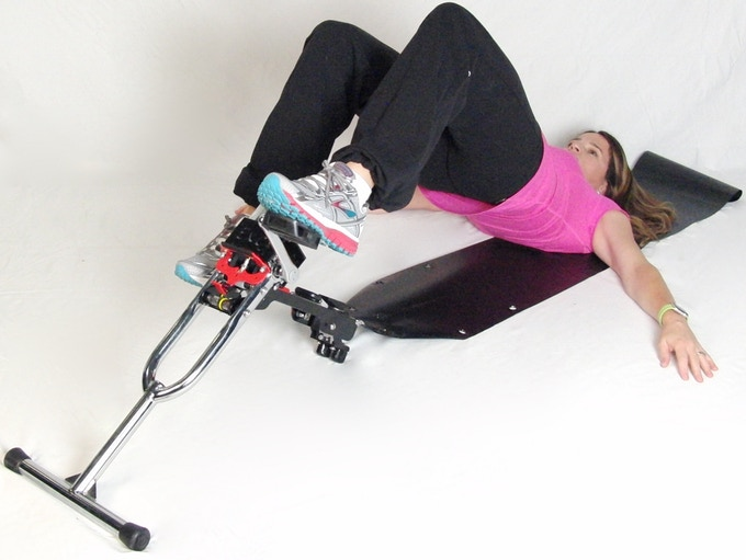 The Excy Keeper attaches to the Excy Cycle and is designed to make sure it stays stationary while in use. A person simply places their body weight on the Excy Keeper, whether in a standing, kneeling, lying, or sitting position.