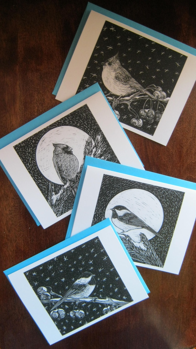 Winter Bird Notecards available for $40 pledge