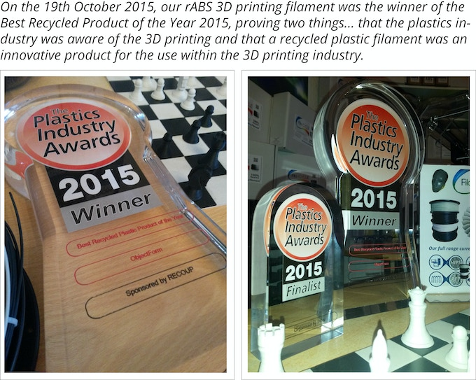 Our award - Best recycled plastic product of the year 2015
