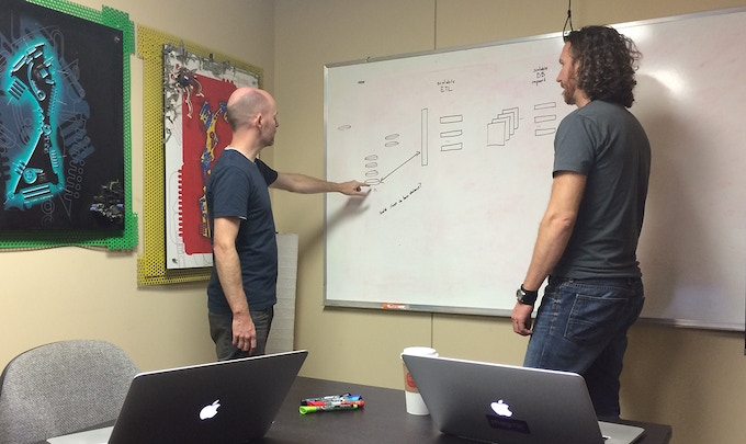 Joshua and Rob hard at work on the server architecture.