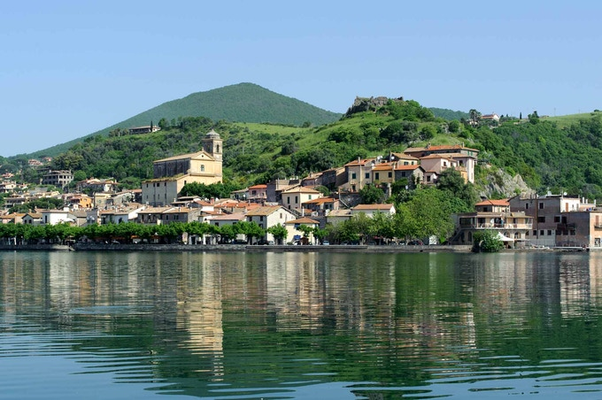 Trevignano Romano, legendary preroman city of Sabate now under water. A view from the Bracciano lake.