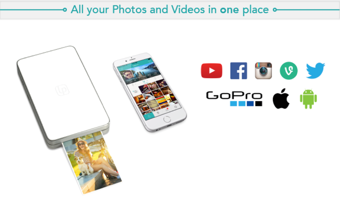 LifePrint easily prints photos & video from YouTube, Vine, Instagram, GoPro, Twitter, FaceBook, & more