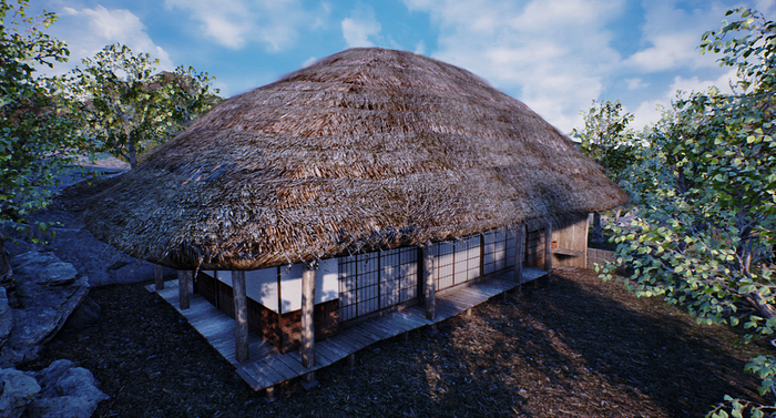 Thatched roof house test model