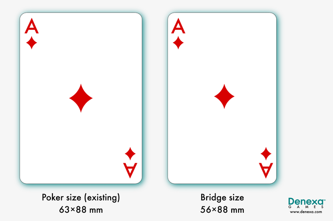 Comparison of poker-size cards, which we've already made, versus bridge-size cards (right), which we seek to make with this project.