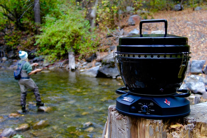 The Velocity Grill is great to have with you while fishing, camping, or even in your own backyard.