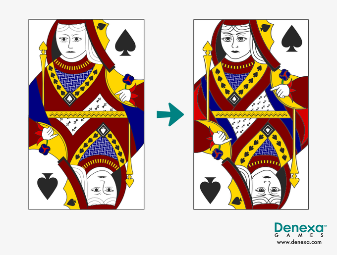 We redrew our court cards in preparation for this project. On the left is our original Queen of Spades. On the right, she's received her much-needed makeover.