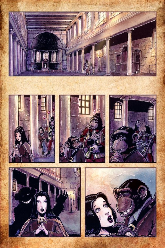 THE HOLY & THE INNOCENT Page 1 Wirrten by Blass Bigatti, Art by Santiago Gerron Fenandez and Colours by Valia Kapaldi from Shit Flingers: Bestiary #3.