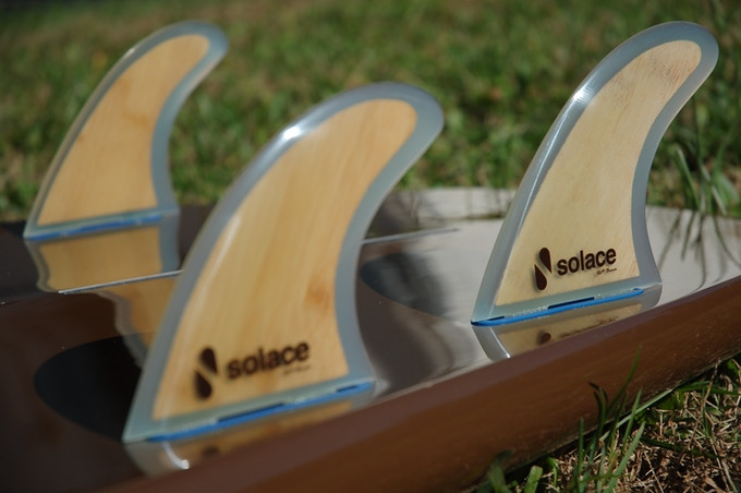 Bamboo glass fins on the 8.6 VH Surf