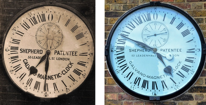 The clock dial in 1910 (left) and after the 1981 repainting (right)
