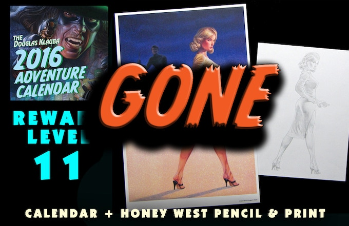 Signed Calendar, Original pencil figure study for Honey West character, and Signed print of the Honey West book cover A GIRL AND HER CAT.