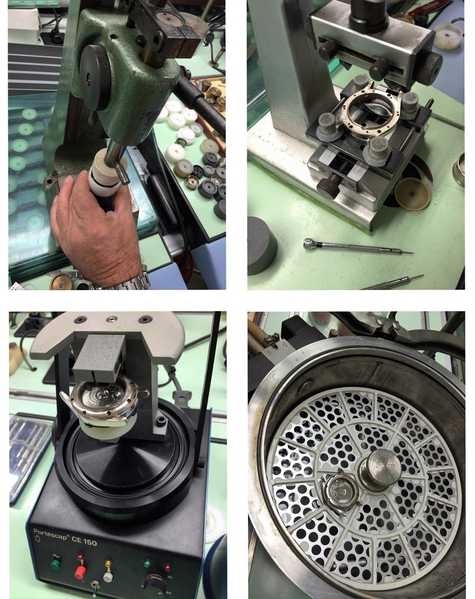 The mounting of the case and the frontal glass, the ultrasonic watch  washing and the test of the water resistant feature