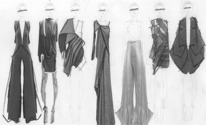 While individual pieces will change and develop over time in order for the final collection to be cohesive, this project will result in a six look collection of women's wear clothing and accessories.
