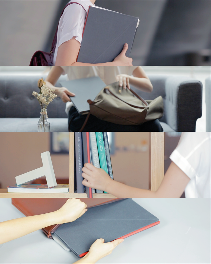 LEVIT8 occupies minimal space. Slip it into your bag, shelf or laptop case (if you're using an S or M-sized LEVIT8)!