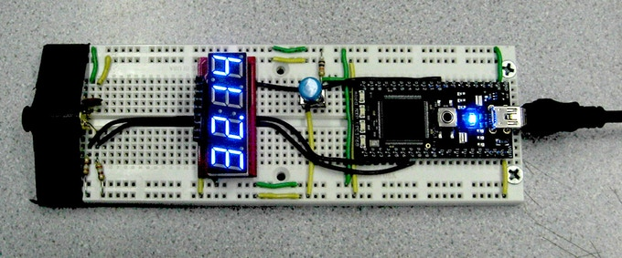 Our prototype reading the ambient temperature.