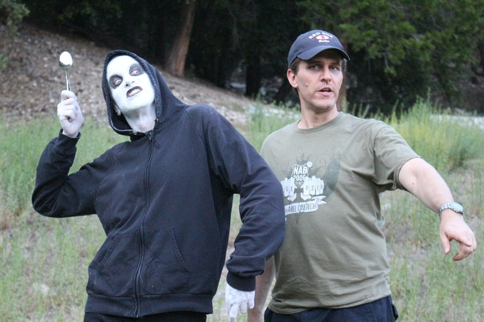 Brian Rohan as the Ginosaji and director Richard Gale on set