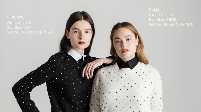 Two Women. Same Shirt, Same Fit, Same Style, Same Freedom. Left: Size 4 model wears The Wakefield in White, XS/S. Right: Size 12 model wears The Wakefield in Black, M/L – available soon at Le Cou online, click image for stock notification!