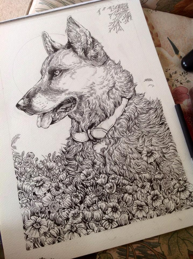 Example of an A3 inked pet portrait