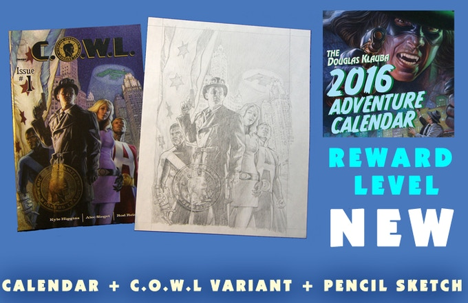 Signed Calendar and Signed C.O.W.L. #1 (Image) Variant cover with the original concept drawing, signed.