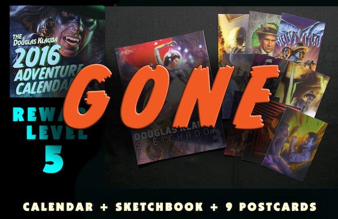 Signed Calendar, Signed copy of DOUGLAS KLAUBA SKETCHBOOK 3, and 9 postcards.