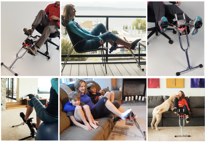 Excy is easy to do at work during a conference call, at home on the couch while watching TV, or even while on the go during your normal routine. It weighs 10 pounds and is easy to take anywhere.