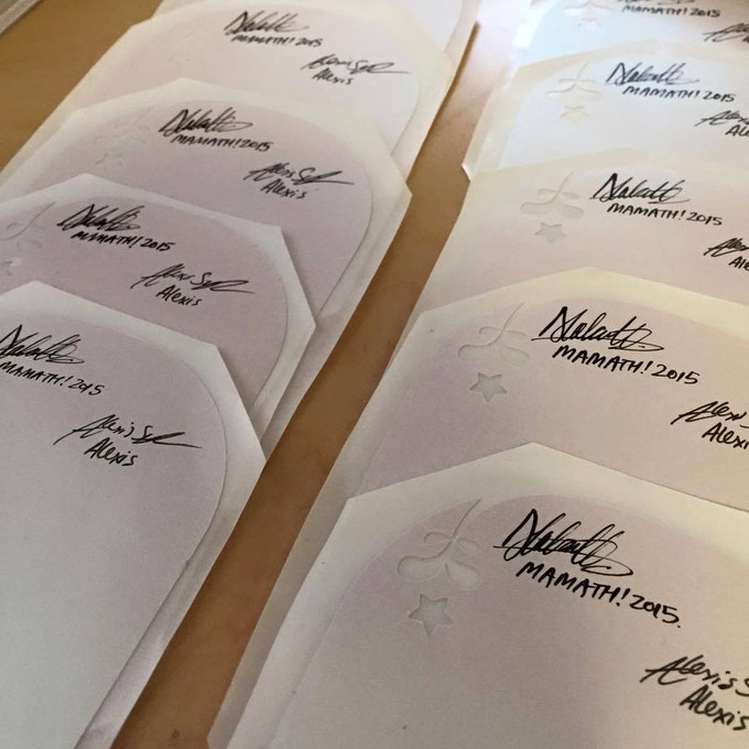 """It's a very fancy bookplate indeed. """"Die"""" cut and on classy pearlescent paper, these bookplates are currently travelling around Australia (and Canada!) collecting signatures from every contributor."""