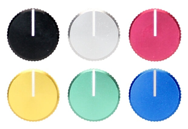 Knob colors - Black, silver, red, yellow, green, and blue