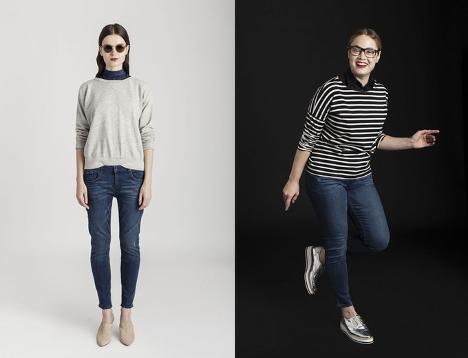Mix up your weekend wear and layer a dickey with a sweatshirt or sailor shirt (surprise! we're partial to stripes), and your favorite jeans. Left: Uma in Chambray. Right: The Wakefield in Midnight. Available soon on lecoulecou.com! Click to be notified.