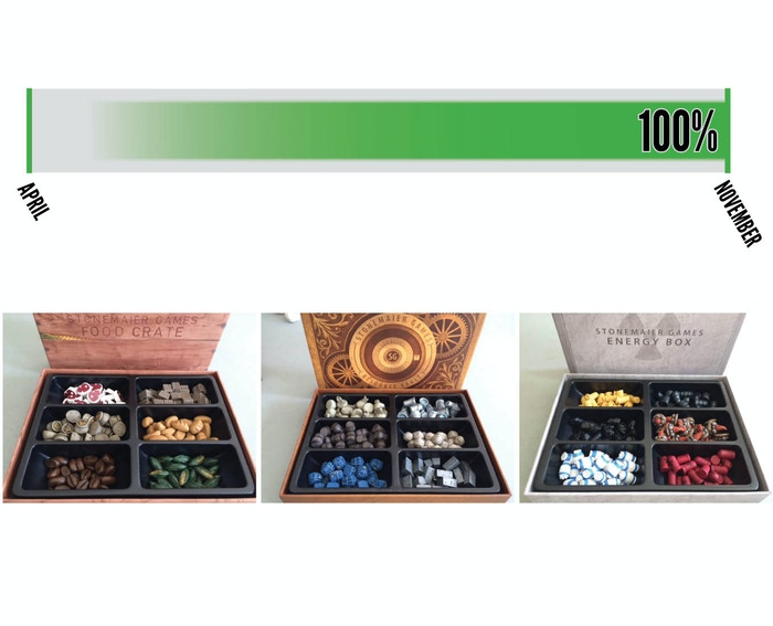 Upgrade your board games with custom-made tokens from your choice of the Food Crate, Resource Vault, and/or the Energy Box.