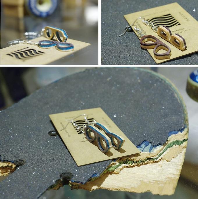 Boucles d'oreilles en skateboard recyclé