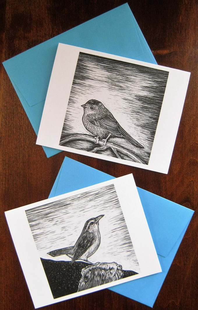 17 Lil' Bird Notecards available for $30 pledge