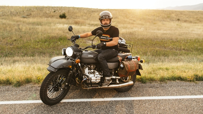 Mike with our bags in Montana on a 2015 Ural Gear-Up
