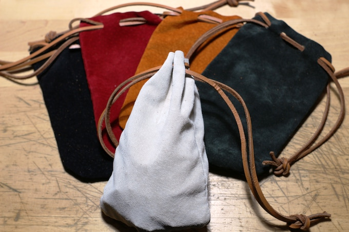 Pigskin Leather Dice Bags in 5 colors.