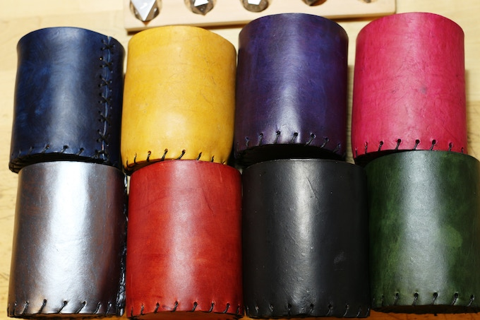 Handmade Leather Dice Cups in 8 Colors.