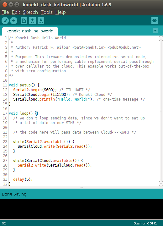 SerialCloud.print ; 1 line of code to send data via cellular!