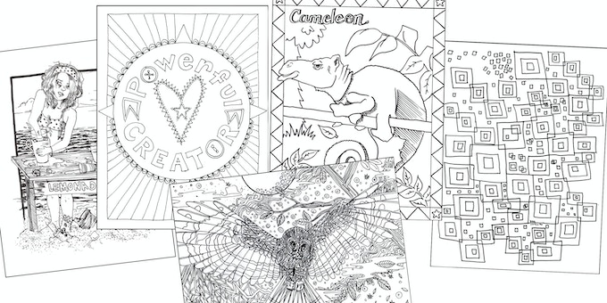 Some beautiful images from our colouring book