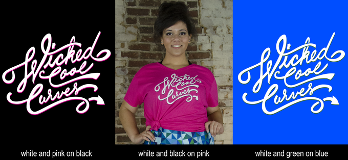 Logo t-shirt options in black, pink, and blue