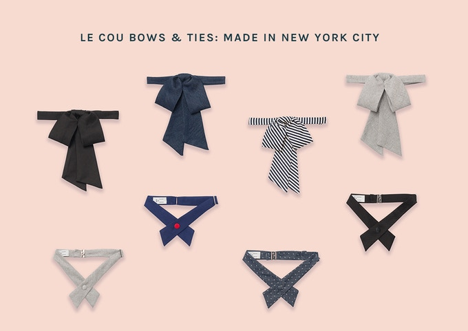 Sneak peek! Selected pieces from the Le Cou Bows & Ties launch collection. Anika in Black (top left) available on Kickstarter – full collection available soon at Le Cou online! Sign up for the Le Cou newsletter on our website to receive updates.