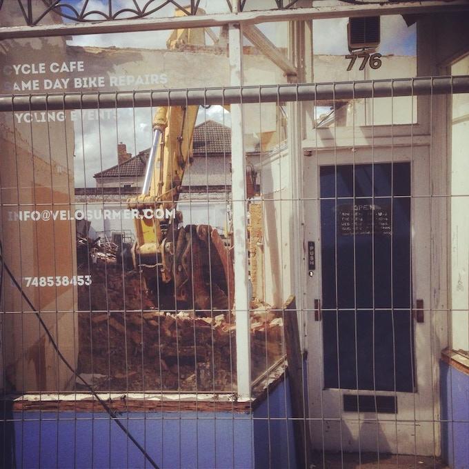 The Velo Domestique Pop-up (mid-demolition)