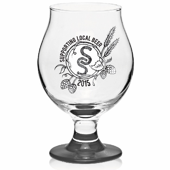 Footed glass for your drinking pleasure.  Support your local brewery in style!