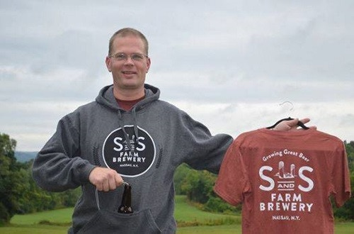 Jason modeling our oh so stylish sweatshirt with built in koozie...and a S&S t-shirt