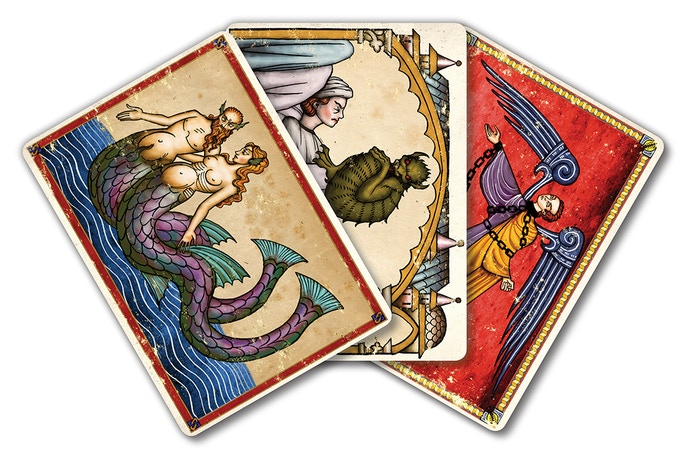 Three of the 12 different Aquelarre art cards.