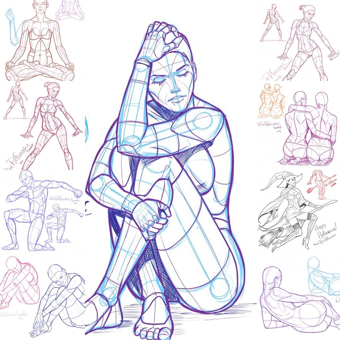 Poses for Artists: 200 pages of Poses Art Book by Justin Martin