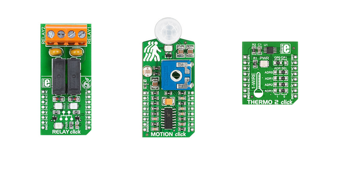 The click boards for the Creator Ci40 IoT kit